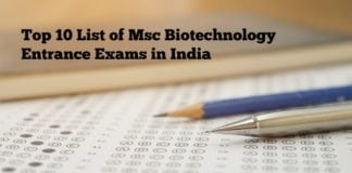 Top 10 List of Msc Biotechnology Entrance Exams in India