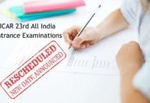 Exam Rescheduled - ICAR 23rd All India Entrance Examinations