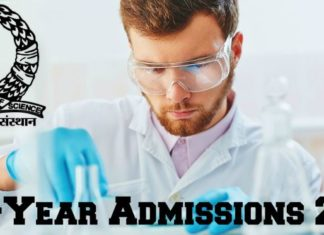 IISc PhD Research Programme Mid-Year Admissions 2018