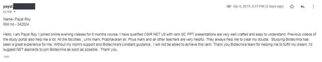 Payal Roy, CSIR NET December 2018 topper with Lecturership Rank 60