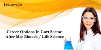 Career Options In Govt Sector After Msc Biotech / Life Science