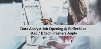 Data Analyst Job Opening @ Biotecnika | B.sc / B.tech Freshers Apply