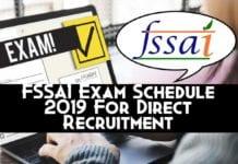 FSSAI Exam Schedule 2019