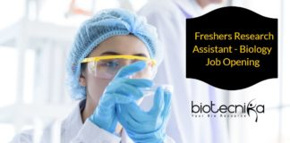 Freshers Research Assistant Biology