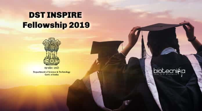 DST INSPIRE Fellowship 2019