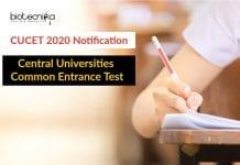 CUCET 2020 Notification - Central Universities Common Entrance Test