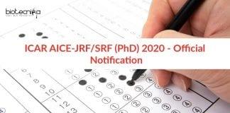 ICAR AICE-JRF/SRF (PhD) 2020