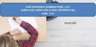 ICAR Examinations 2020