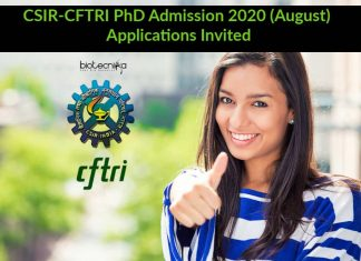 CSIR-CFTRI PhD Admission 2020