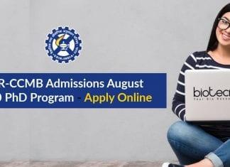 CSIR-CCMB PhD Admissions August