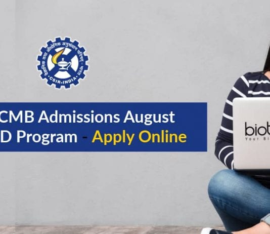 CSIR-CCMB PhD Admissions August
