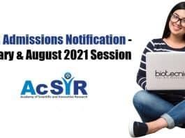 AcSIR PhD Admission Notification