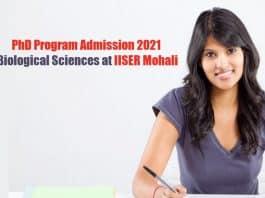 IISER Mohali PhD Admission