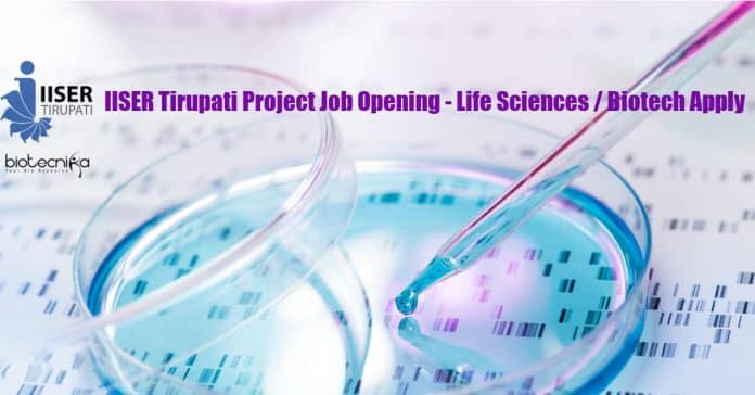 IISER Tirupati Project Job