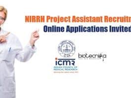 NIRRH Project Assistant Recruitment