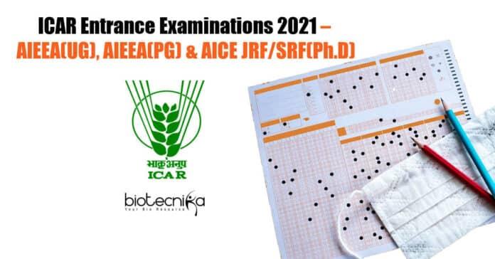 ICAR Entrance Examinations 2021
